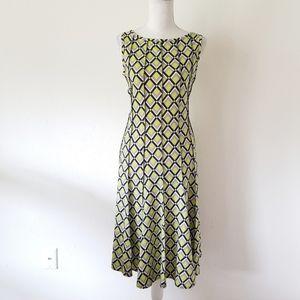 Haani New York Fit Flare Green Geometric Dress S